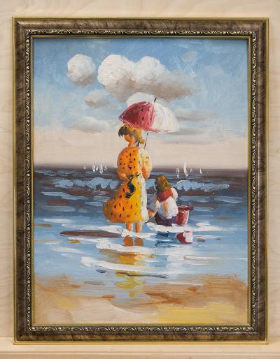 Картина - прогулка по побережью моря