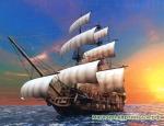 Набор для вышивки крестиком - корабль в море на восходе