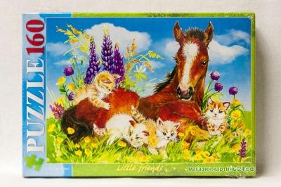Пазлы  - котята и лошадь