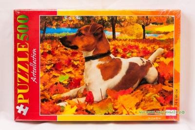 Пазлы - собачка на листьях