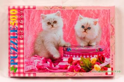 Пазлы - два белых котёнка