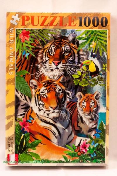 Пазлы - семейство тигров