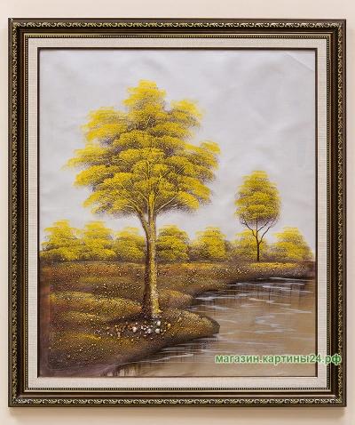 Картина с золотистыми деревьями